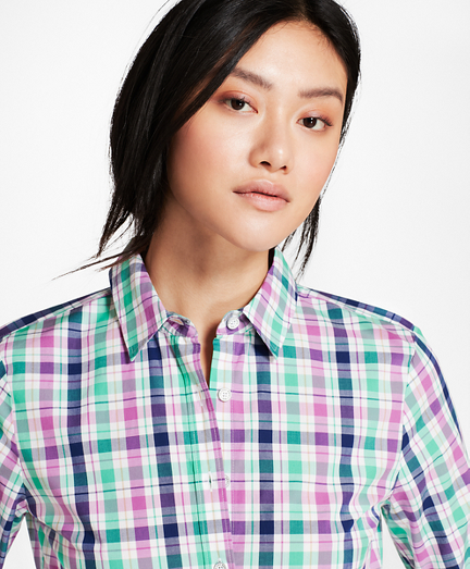 Plaid Stretch Cotton Poplin Fun Shirt