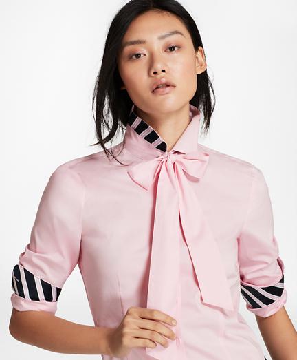 Bow-Neck Stretch Cotton Poplin Shirt
