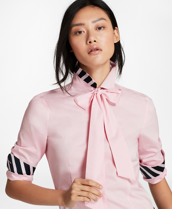 Bow-Neck Stretch Cotton Poplin Shirt Light Pink