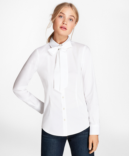 Bow-Neck Stretch Cotton Poplin Shirt