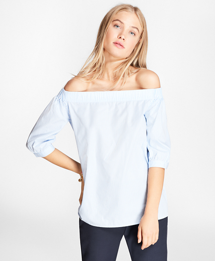 Striped Cotton Poplin Off-the-Shoulder Blouse
