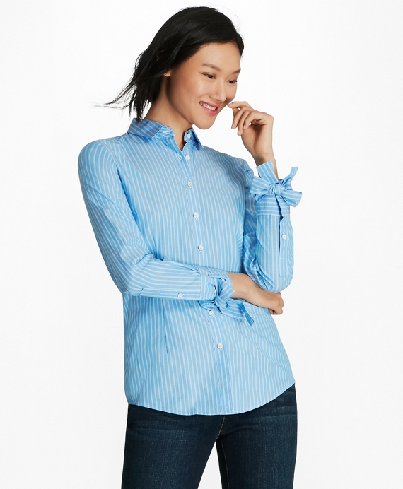 Bow-Cuff Striped Cotton Poplin Shirt