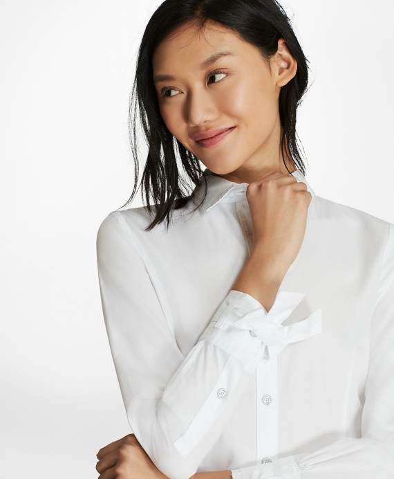 Bow-Cuff Cotton Poplin Shirt White