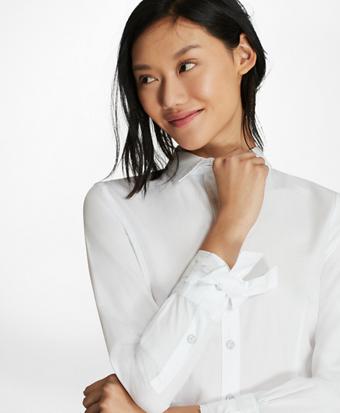 Bow-Cuff Cotton Poplin Shirt