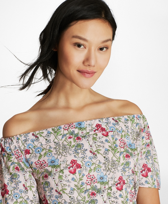 Botanical-Print Cotton Poplin Off-the-Shoulder Top