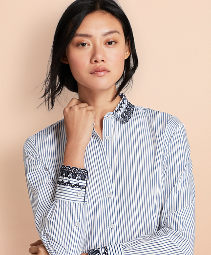 Eyelet-Embroidered Striped Cotton Poplin Shirt