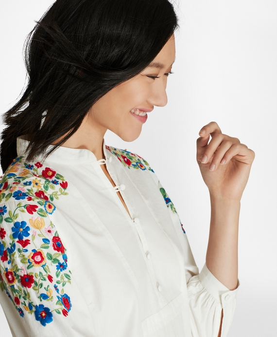 Floral-Embroidered Cotton Poplin Peasant Blouse White