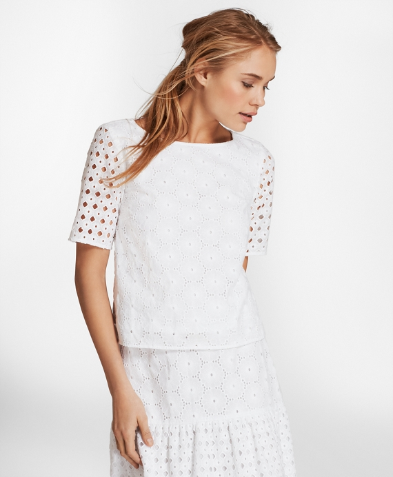 Cotton Eyelet Blouse White