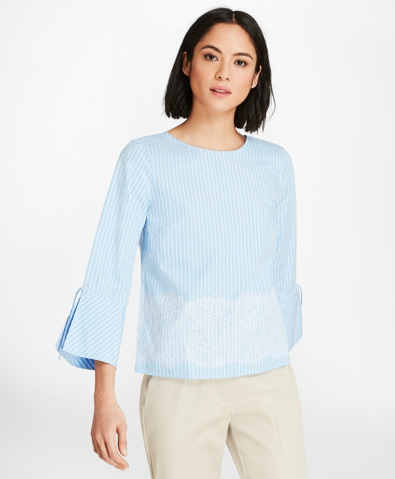 Lace-Trimmed Striped Cotton Poplin Bell-Sleeve Blouse Light Blue