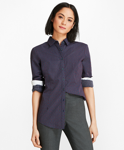 Cotton Clip-Dot Jacquard Shirt