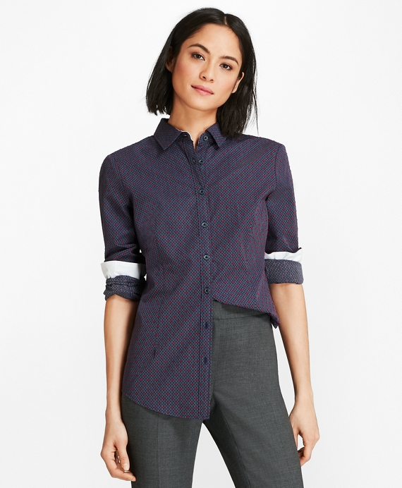 Cotton Clip-Dot Jacquard Shirt Navy
