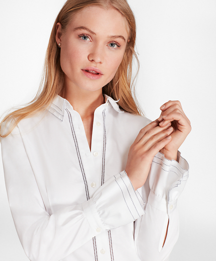 Cotton Sateen Ruffle-Cuff Shirt