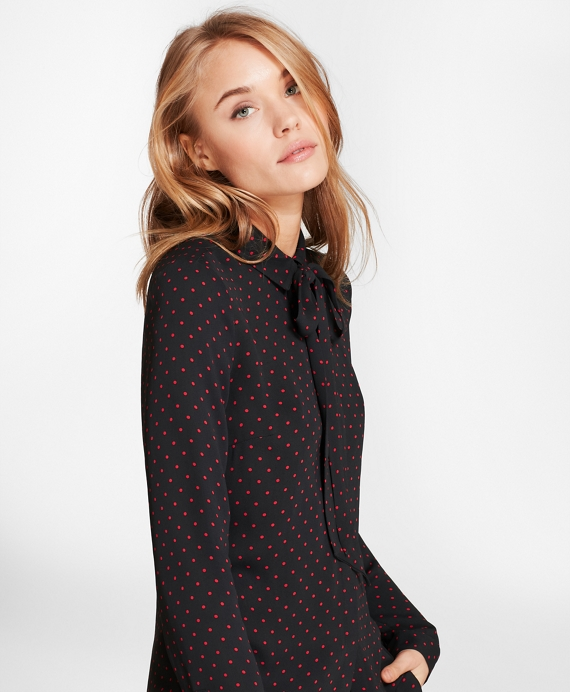 Polka Dot Georgette Bow Collar Shirt Black-Red