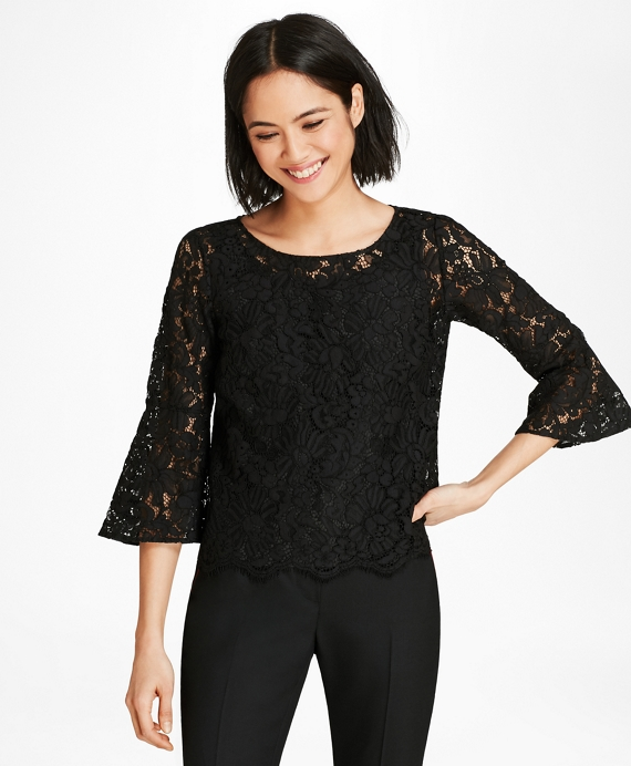 Floral Lace Bell Sleeve Blouse Black