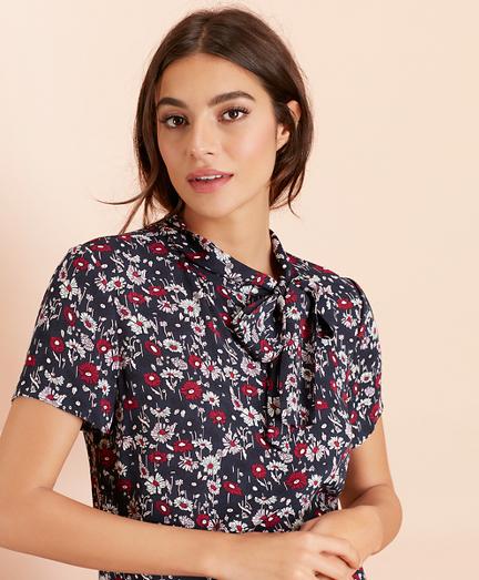 Floral-Print Crepe Tie-Neck Blouse