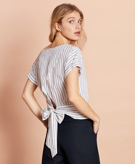 Shimmer Stripe Linen-Cotton Tie-Back Blouse