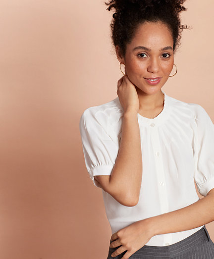 Pleat-Yoke Crepe Blouse