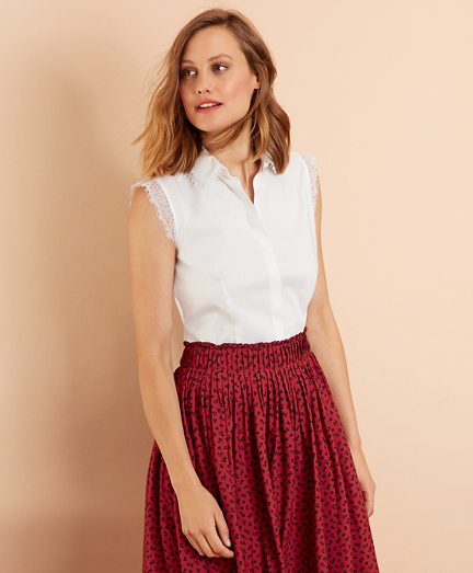 Lace-Trimmed Poplin Shirt