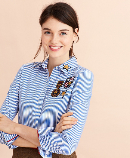 Striped Cotton Logo-Patch Shirt