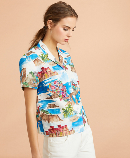 Costal-Print Linen-Cotton Camp Shirt