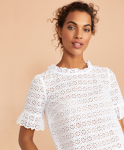 Cotton Eyelet Bell-Sleeve Blouse