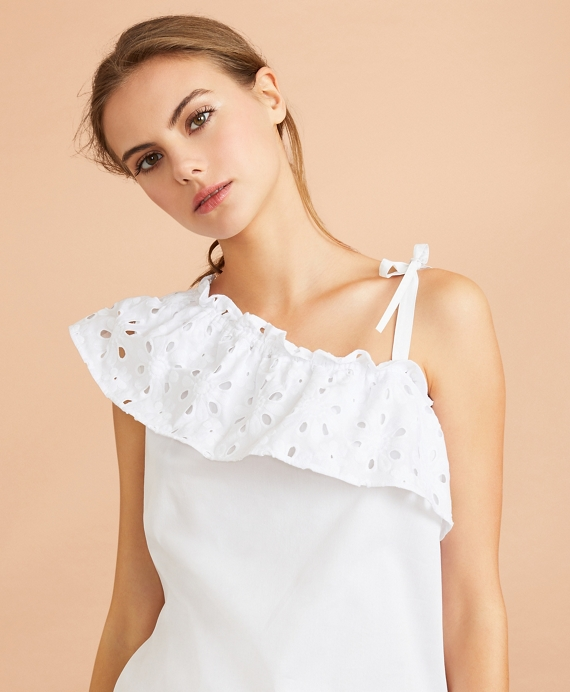 Eyelet Ruffle-Trim One-Shoulder Top White