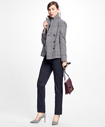 Wool Houndstooth Peacoat