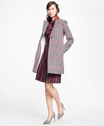 Wool Houndstooth Coat