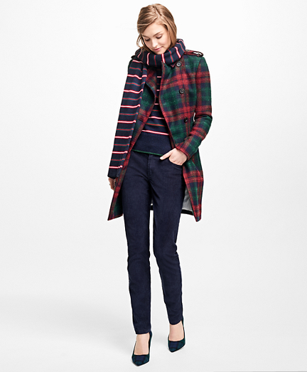 Tartan Wool-Blend Trench Coat
