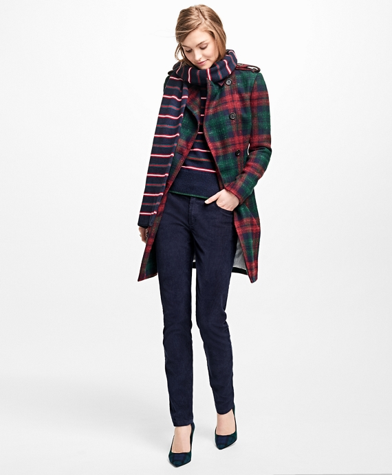 Tartan Wool-Blend Trench Coat Red-Green