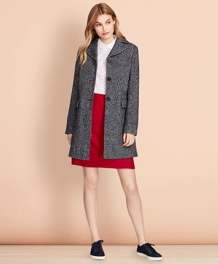 Herringbone Wool-Blend Swing Coat
