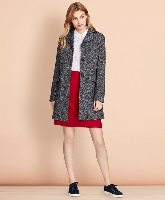 Herringbone Wool-Blend Swing Coat Grey