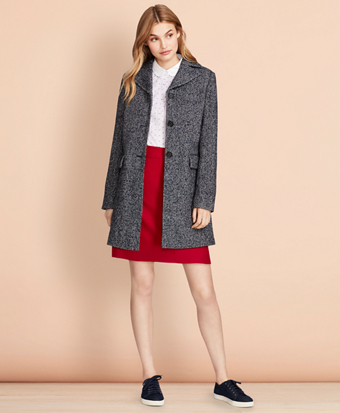 Herringbone Wool-Blend Swing Coat