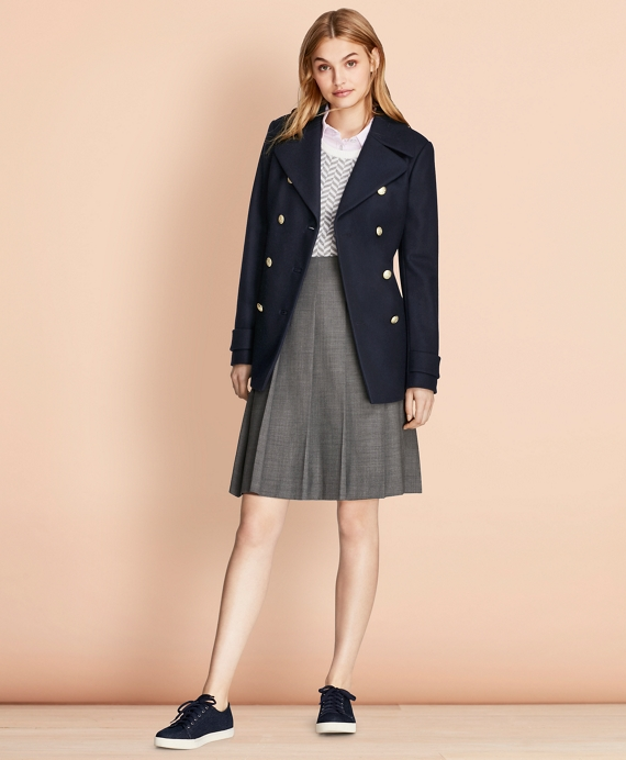 Wool-Blend Peacoat Navy