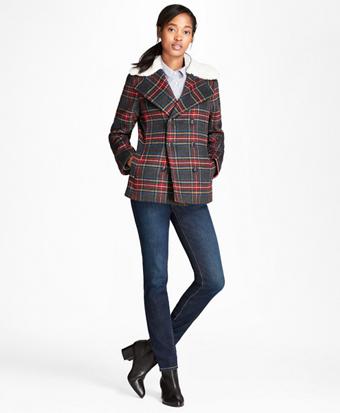 Tartan Wool-Blend Double-Breasted Coat