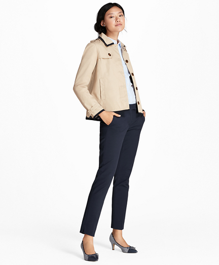 Water-Repellent Twill Cropped Swing Jacket