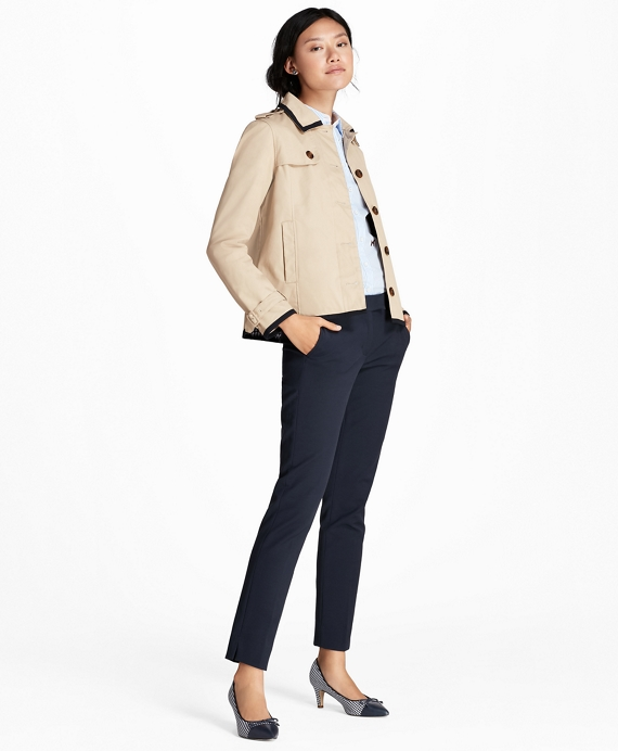Water-Repellent Twill Cropped Swing Jacket Khaki