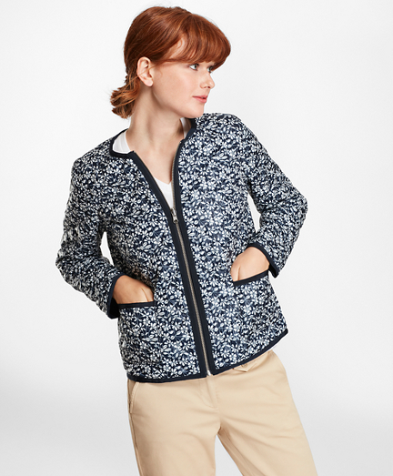 Water-Repellent Floral-Print Reversible Quilted Jacket