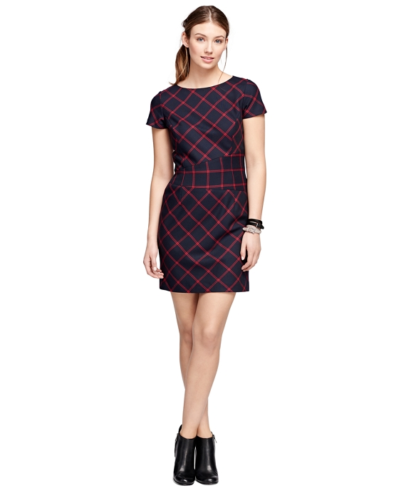 Wool Windowpane Dress Navy