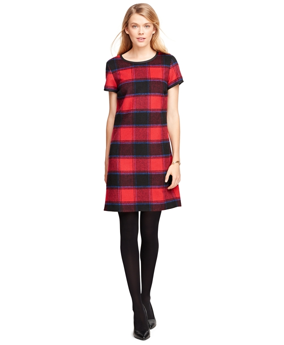 Women's Wool Short-Sleeve Buffalo Check Shift Dress | Brooks Brothers