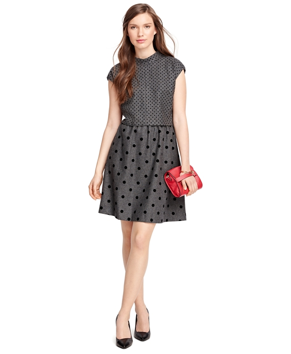 Wool Blend Polka Dot Dress Grey