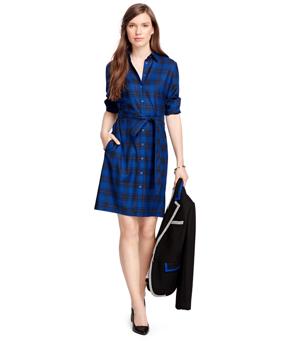 Wool Tartan Shirt Dress Blue