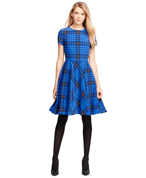 Short-Sleeve Tartan Flared Dress Blue