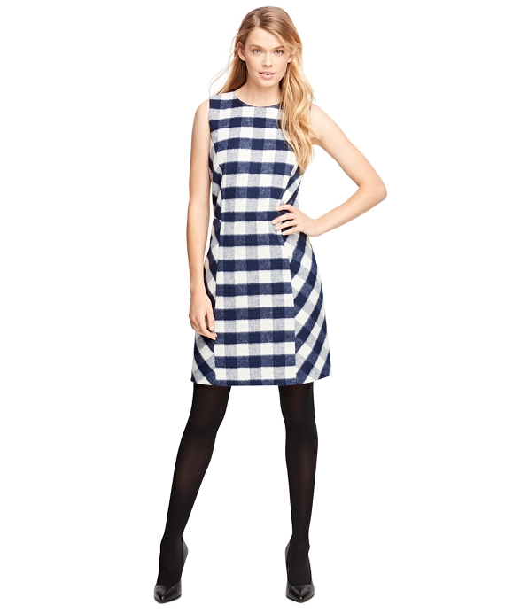 Wool Blend Buffalo Check Sleeveless Dress Navy-White