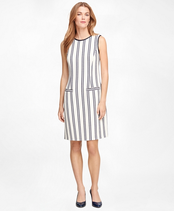 Sleeveless Vertical Stripe Dress Ivory