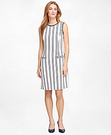 Sleeveless Vertical Stripe Dress