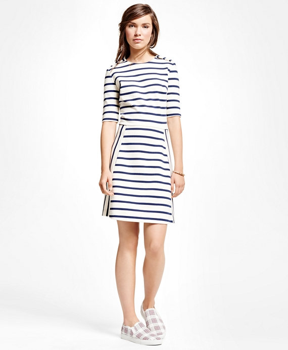 Cotton Blend Ponte Dress Navy-White
