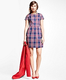 Cotton Blend Plaid Dress
