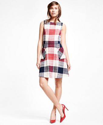 Cotton Blend Gingham Dress