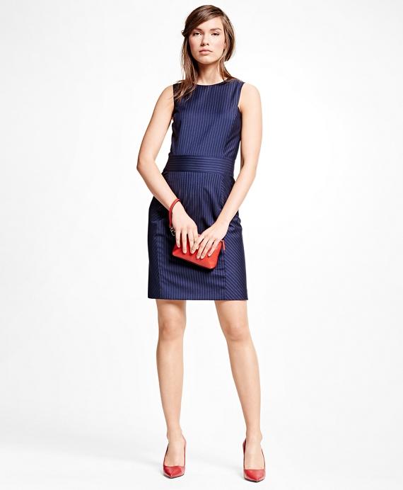 Wool Blend Pinstripe Dress Navy